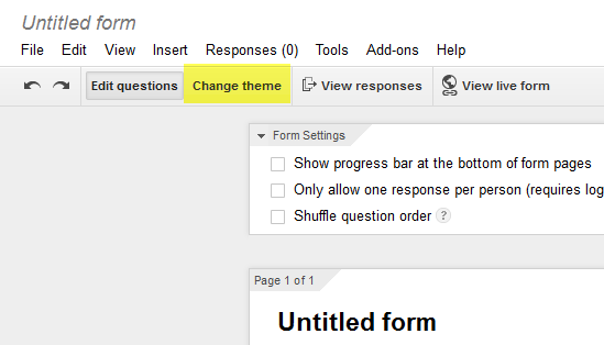 Google Form change theme command