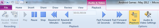 audio and video contextual tab