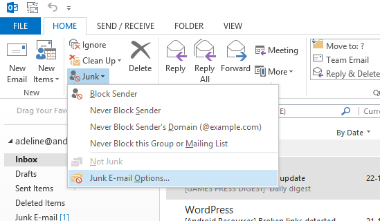Junk email options in outlook 2013