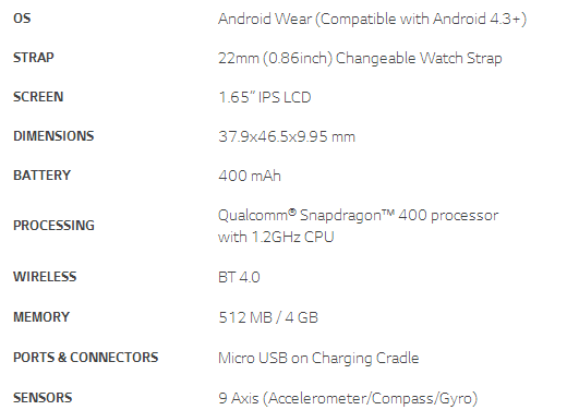G Watch Tech Specs