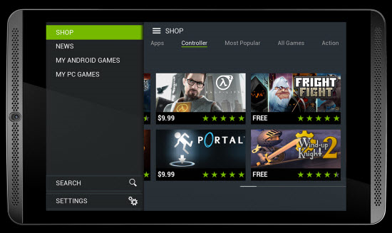 Games in the Nvidia Sheild tablet shop